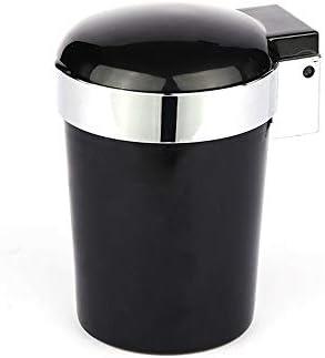 Wen Ying カー灰皿、灰皿付きカバークリエイティブ付きLEDライトカー灰皿難燃剤灰皿インテリア用品(3色) 灰皿 車 (Color : Black)
