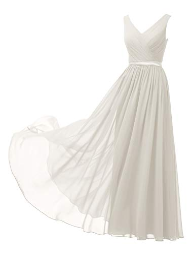 Alicepub V-Neck Chiffon Bridesmaid Dresses Long Maxi Formal Dress for Women Party Evening Sleeveless