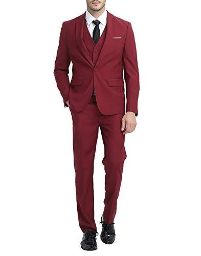 Mens 3-Piece Suit Notched Lapel One Button Slim Fit Formal Jacket Vest Pants Set,Red,Large ()