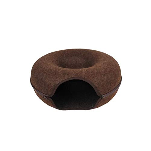 BROWN Cat Toy Cat Tunnel Roll Dragon Pet Cat Toy Net Cat Litter Four Seasons Universal Closed Cat Litter (color   BROWN)