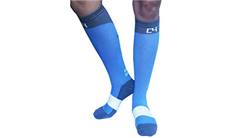 C4 Equestrian Horse Riding & Tall Boot Over the Calf Knee High Socks for Women (Cornflower and Grey Riding Socks)