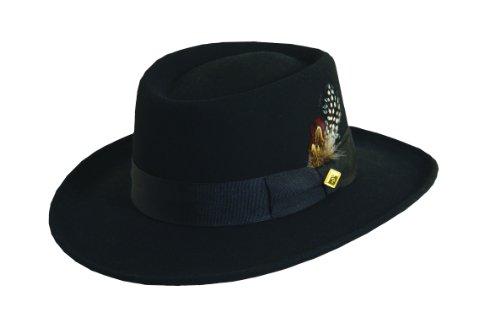 Hat Felt Gambler (Stacy Adams Men's Crushable Wool Felt Gambler Hat (M, Black))