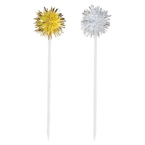 Silver & Gold Pom Pom Toothpicks, 8ct
