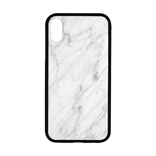 Marble Rubber Phone Case,Carrara Marble Tile Surface Organic Sculpture Style Granite Model Modern Design Compatible with iPhone XR