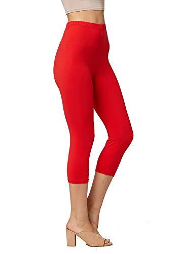 Premium Ultra Soft Womens High Waisted Capri Leggings - Cropped Length - Solid - Red - Small/Medium (0-12)
