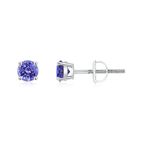 Angara Four-Prong Set Tanzanite Basket Stud Earrings in Platinum 3cXOsoLAH