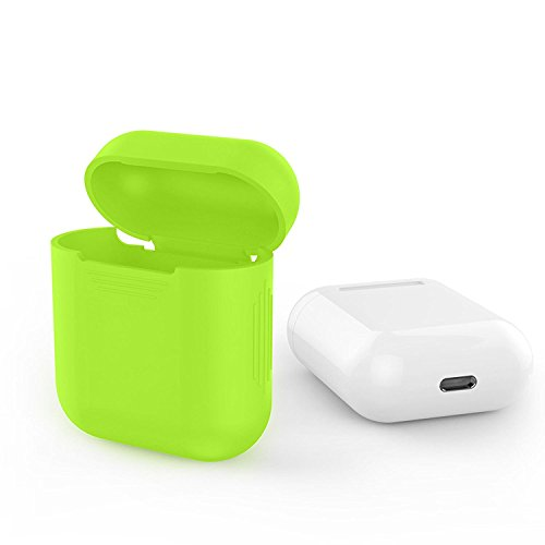 (LYRIC Bright Lime Green Silicone Shock Proof Protective Case Skin Cover for Apple AirPods Wireless Headphone)