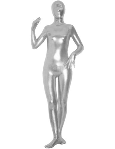 AltSkin Unisex Full Body Spandex/Lycra Suit, Metallic Silver, XX-Small -