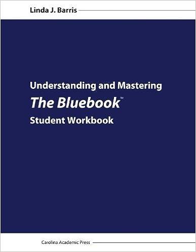 Book Understanding and Mastering The Bluebook: Student Workbook by Linda J. Barris (2012-08-06)