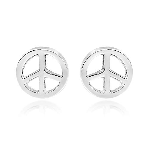 - Peace Sign Symbol 8 mm Circle .925 Sterling Silver Stud Earrings