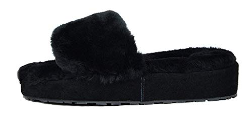 DREAM PAIRS Women's New Spa-01 Slide Fluffy Comfy Winter Slippers
