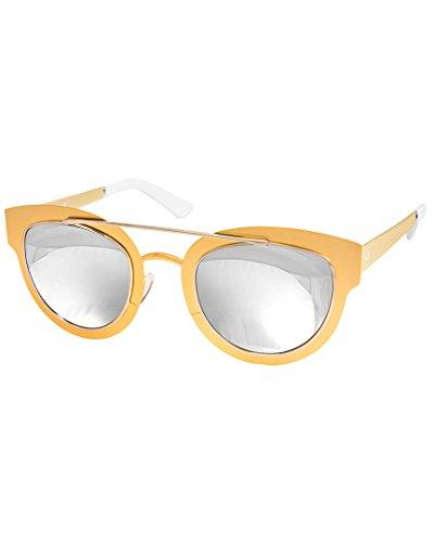 AQS Womens Jolene Arched Brow Bar Sunglasses (Silver, - Aqs Sunglasses