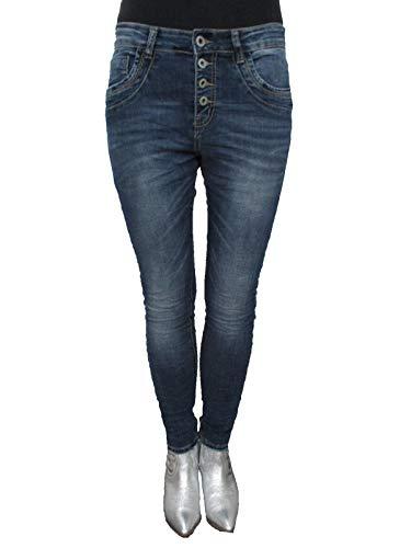 LEXXURY Baggy copain tirement des femmes pantalon jean range ouverte de boutons Denim Fonc