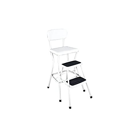 Cosco White Retro Counter Chair / Step Stool with Pull-out Steps, White - Access Steel Ladder