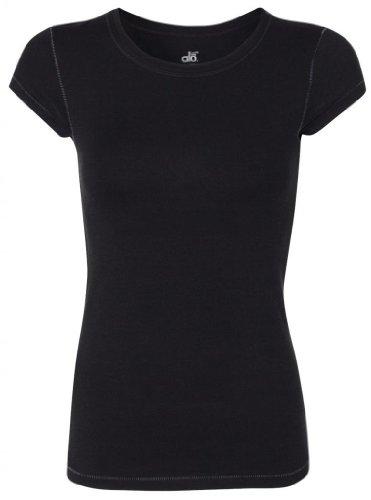 Yoga Clothing For You Women's Yoga Bamboo Short Sleeve T-Shirt, Medium Black
