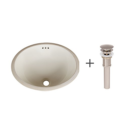 - Ronbow Oval Undermount Sink in Biscuit with Pop-Up Bathroom Sink Drain for Ceramic Vessel Sinks in Brushed Nickel YS0113-3