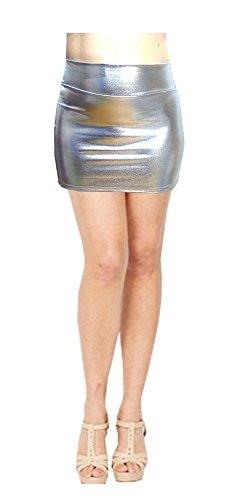 SACASUSA (TM) Shiny Stretchy Metallic Wet Look Mini Skirts in Silver Medium -