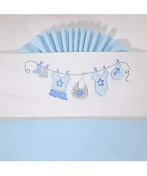 10XDIEZ Juego DE SÁBANAS Cuna ROPITA BCO Azul - Medidas sabanas bebé - Maxicuna (70x140cm)