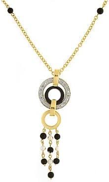 Collier - 133N0319-03/9 - Collar de mujer de oro amarillo (9k) con piedras multicolor, 22 cm