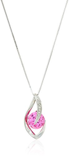 10k White Gold Created Pink Sapphire and Diamond Accent Flame Pendant Necklace, 18