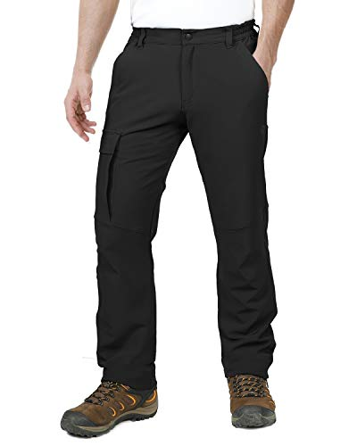 Outdoor Ventures Men's Ultra Comfortable Lightweight Stretchy Water Resistant Quick Dry Tactical Hiking Cargo Warm Pants Black