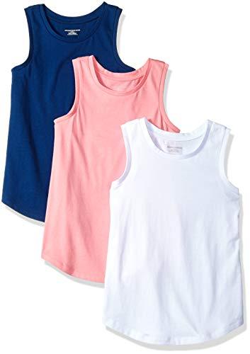 (Amazon Essentials Big Girls' 3-Pack Tank, Blue Depths/Sachet Pink/Bright White, X-Large)