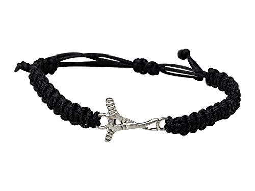 Sportybella Ice Hockey Bracelet, Hockey Jewelry Gifts, for Hockey Players, Teams & Coaches (Black)