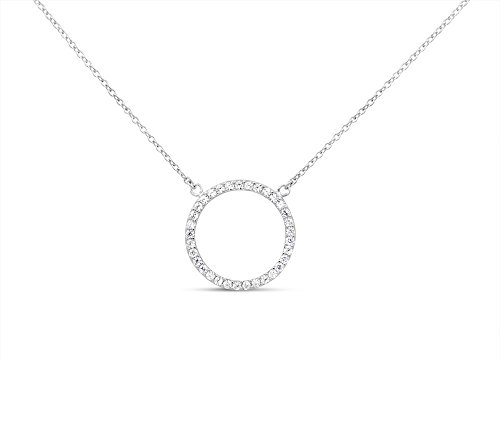 Sterling Silver Pendant Necklace with CZ Crystal Pave Round Circle of Love Charm, Rhodium Plated 925 Silver, Adjustable Chain Length 16