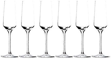 Summa - Juego de Copas de Champán. Set 6 unidades. 200ml/20cl | Cristal, alta transparencia y borde fino | Uso en casa, restaurante y fiestas |
