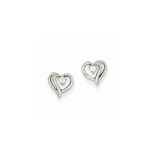 Heart Diamond Earring Aa (14k White Gold AA Diamond Heart Earrings)