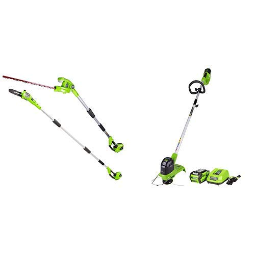 Greenworks 8.5' 40V Cordless Pole Saw with Hedge Trimmer Attachment, Battery Not Included PSPH40B00 with  12-Inch 40V Cordless String Trimmer, 4.0 AH Battery Included ST40B410