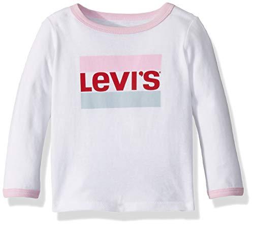 Levi's Baby Girls Long Sleeve Graphic T-Shirt, White Ringer, 24M (Girls Ringer T-shirt)