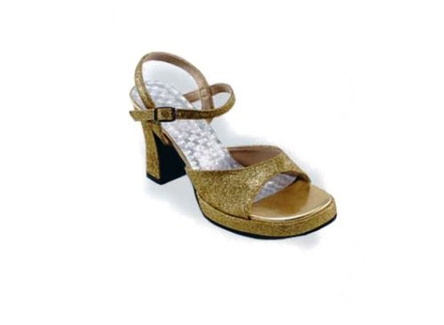 1970s Disco Shoes Gold Female Fancy Dress Costume - Small (US 6) (70s Disco Gold Adult Costume)