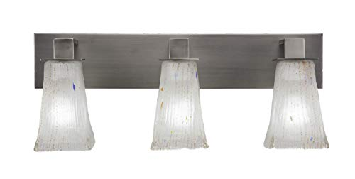 Toltec Lighting 583-GP-631 Apollo - Three Light Bath Bar, Graphite Finish with Square Frosted Crystal Glass