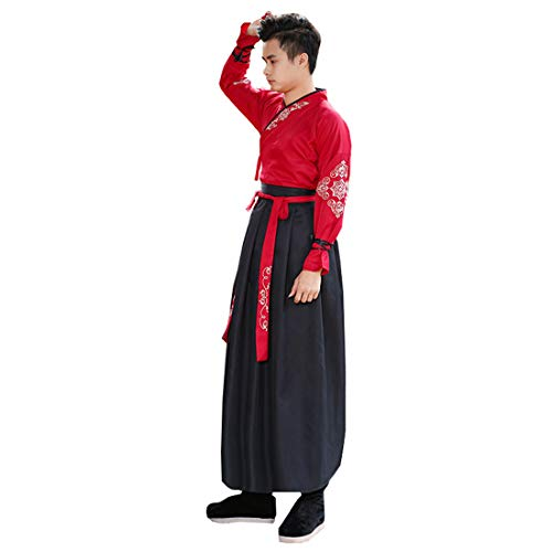 Ez-sofei Ancient Chinese Han Dynasty Traditional Hanfu Cosplay Costume for Couples (M, Male-Red&Black) -
