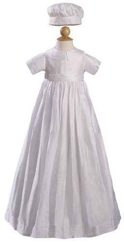 Silk Dupioni Convertible Christening Baptism Romper with Button on Gown