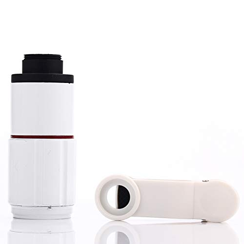 HD Telescope 8X Zoom Telescope Telephoto Camera Lens with Clip (Color : White) by Gladnt