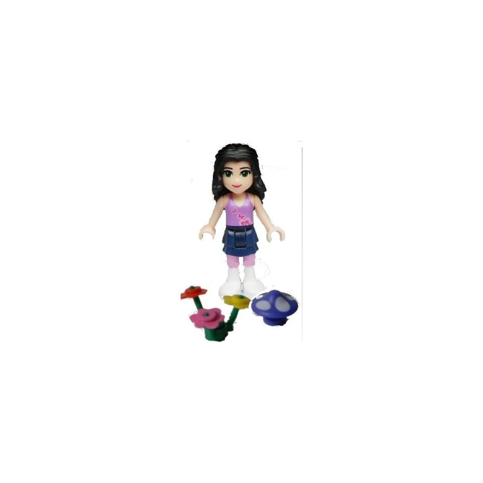 Lego Friends, Loose Mini Figure  Emma Dark Blue Layered Skirt ,Medium Violet Top, White Boots (Incudes Flowers and Mushroom colors Vary)