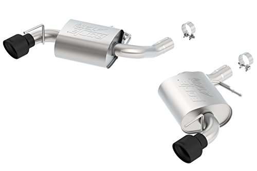 Borla 11923CB ATAK Axle-Back Exhaust System 2.75 in. Incl. Connecting Pipes/Mufflers/Hardware/4.5 in. Round Dual Rolled Angle-Cut Tip w/o NPP Single Split Rear Exit ATAK Axle-Back Exhaust System (Rear Split Tip)