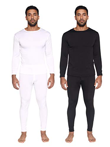 2 Pack: Mens Thermal Sets Underwear Microfiber Fleece Lined Long Johns Base Layer Top Bottom Shirt Pants Compression Leggings Essentials Skiing Snow Winter Clothing -Set 3,XXL
