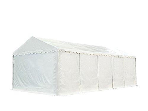 XXL Lagerzelt PROFESSIONAL 5x10m, hochwertige 550g/m² PVC Plane in weiß, vollverzinkte Stahlkonstruktion, Ø Stahlrohre ca. 50 mm, Seitenhöhe ca. 2,6 m