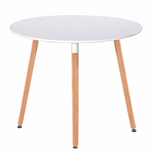 Round Dining Tables Chairs - GreenForest Dining Table White Modern Round Table with Wood Legs for Kitchen Living Room Leisure Coffee Table