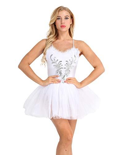 ACSUSS Women's Swan Lake Costume 3D Flower Print Ballet Dress with Layered Tutu Skirt White -