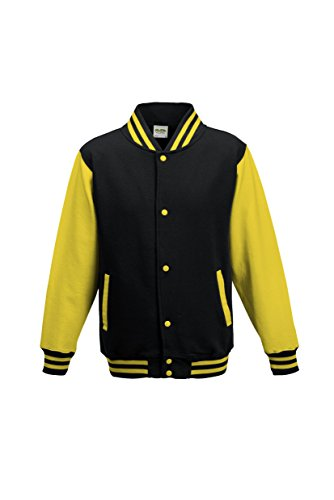 AWDis Hoods Kids varsity jacket Jet Black / Sun Yellow 911