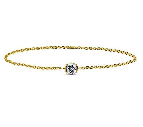 Or Jaune 18 ct Bracelet Diamant en forme de rond, 0.25 Ct Diamant, GH-SI, 2.15 grammes.
