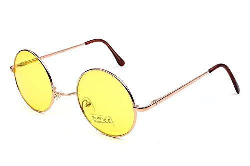 Caixia Women's SJT-TZ Colored Tinted Lens Retro Metal Round Sunglasses (yellow, - Round Glasses Yellow