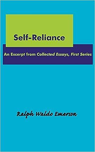 Selfreliance Ralph Waldo Emerson  Amazoncom Books