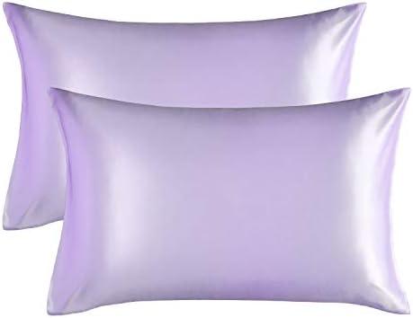 Bedsure Funda Almohada 40x80cm de Satén Pelo Rizado Violeta 2 Piezas - Muy Liso Suave de 100% Microfibra sin Cremallera