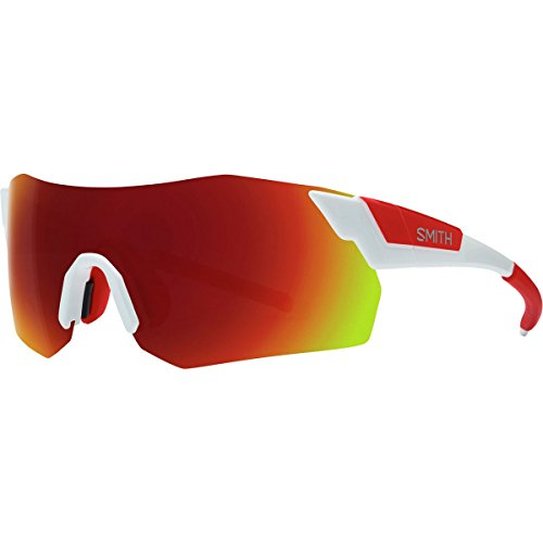 Smith Pivlock Arena Max ChromaPop Sunglasses White/Red, One Size - - Cycling Glasses Smith