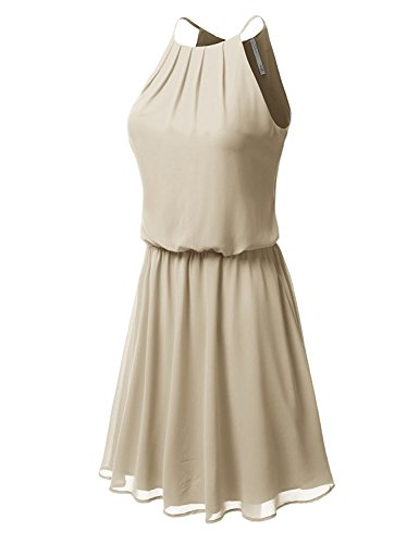 spyman Fashion Women's Sleeveless Double-Layered Pleated Dress TAUPE SMALL Fpawdsd028_taupeSmall ()